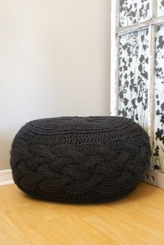 "Pattern - Pouffe / Footstool / Ottoman Super Chunky Cable Knit 25"" diameter x 16.5"" high"
