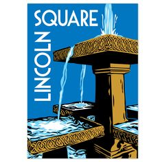 Chicago neighborhood poster featuring Lincoln Square's bronze tiered fountain, in Giddings Plaza on Lincoln Avenue. Also available as a greeting card About the Artist Local artist Chris Gorz of Studio