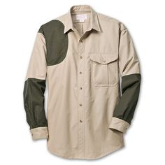Shooting Shirt-Right Handed - S - Tan/Blaze Orange in Outdoors Fall 2012 from Filson Mens Hunting Clothes, Shooting Clothing, Just Beautiful Men, Camo Outfits, My Guy, Work Wear, Sportswear, Mens Fashion, My Style