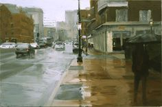 Rain on Cambridge Street, 2006, oip, 12x18in