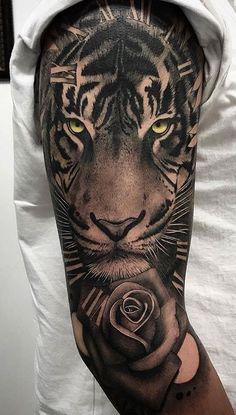 Mens Tiger Tattoo, Tiger Face Tattoo, Tiger Tattoo Sleeve, Best Sleeve Tattoos, Arm Tattoos For Guys, Girl Tattoos, Colorful Rose Tattoos, Tattoo Cover, Quarter Sleeve Tattoos