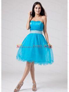 Teal knee length prom dress