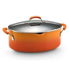 Rachael Ray, 8 qt. Nonstick Covered Oval Pasta Pot with Pour Spout in Orange, 11487 at The Home Depot - Mobile