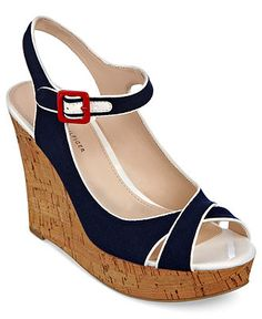 Uhhh they are out of navy... I LOVE it in NAVY! Tommy Hilfiger Shoes, Mikki Platform Wedge Sandals - Shoes - Macy's