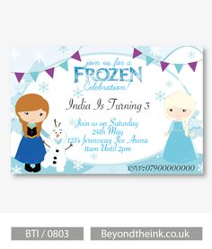Personalised Anna, Olaf and Elsa Frozen Invitations.  Printed on Professional 300 GSM smooth card with free envelopes & delivery as standard. www.beyondtheink.co.uk