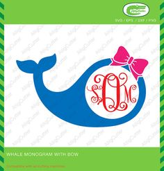 Whale With Bow Monogram Frame SVG DXF PNG eps by Alligcutter