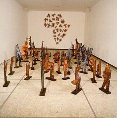 Josef Beuys 'Dem Rudel das Bild erklären' 1994-95   Installation consisting of 27 wall elements und 69 individual pieces 300x600x200 cm