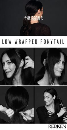 Elegant low wrapped ponytail seen at the Oscars, perfect for events and a chic option for bridal hair! Watch the Oscars hair tutorial and learn how to get the look.