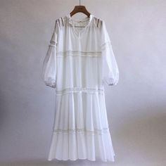 V Neck Lantern Long Sleeve Hollow Out Casual White Maxi Dresses for Wo – shewaves White Flowy Dress, White Maxi Dresses, Plain Dress, Dress Black, Dressy Casual Outfits, Dress Casual, Casual Wear, Midi Skater Dress, 60 Fashion