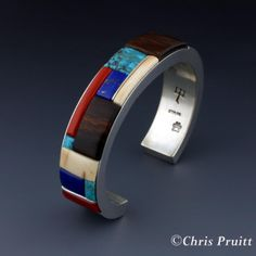 Inlay Bracelet: Sterling Silver, Ironwood, Coral, Lapis, Fossilized Ivory and Lone Mountain Turquosie.