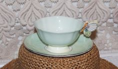Vintage Paragon Butterfly Handle Teacup & Saucer Pale Green Yellow Butterfly #paragon