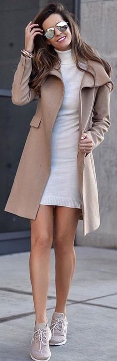 #spring #outfits woman wearing white bodycon dress, brown coat, and pair of brown running shoes outfit. Pic by @threadweather