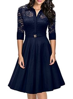 08cbf2a58da9 SYLVIEY Womens Vintage Bridesmaid 1950s Lace Slim Cocktail Party Evening  Dress at Amazon Women's Clothing store: