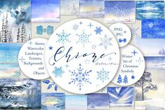 """Chiona Snow Set by artabramova on @creativemarket I'm glad to present you my new watercolor winter set. It is called """"Chione"""" like the ancient Greek goddess of the winter. In this set you can find some cold, icy landscapes, snowy illustrations, christmas symbols, beautiful snowflakes and several seamless patterns. It can help you in your winter theme designs!"""