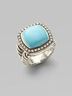 David Yurman - Turquoise & Diamond Sterling Silver Ring