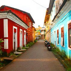 The colourful portuguese street. Fontainhas, Panjim, Goa