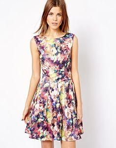 A Wear Floral Print Pleated Dress