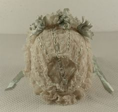 Marvelous French Antique Original Valenciennes Lace Bonnet from the from mybebes on Ruby Lane