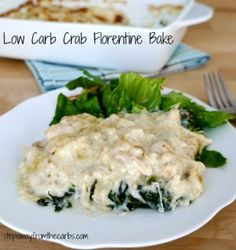 Low Carb Crab Florentine Bake - filling, comforting and delicious! - without the flour, of course Best Low Carb Recipes, Low Sugar Recipes, Crab Recipes, Low Carb Dinner Recipes, Recipies, Keto Dinner, Favorite Recipes, Ketogenic Recipes, Keto Recipes