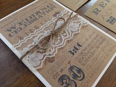 Vintage Rustic Shabby Chic Kraft Wedding Invitation with Lace & Twine Belly Band by CCPrintsbyTabitha on Etsy https://www.etsy.com/listing/219854232/vintage-rustic-shabby-chic-kraft-wedding