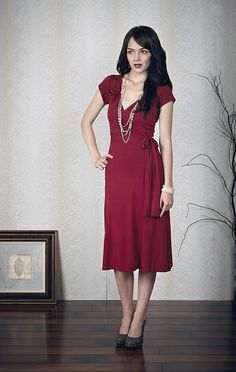Modest Wrap Dress in Red $44.99 http://www.jenclothing.com/mi-7014-burntred.html