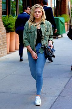 00c2dd97a5 Chloë Moretz out in NYC Chloe Grace Moretz, Blue Jean Vest, Black Vest,