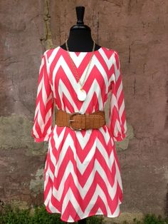 3/4 Sleeve Coral and White Chevron Dress $48