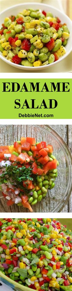 A healthy roasted edamame salad makes a wonderful side dish. Loaded with vitamins and antioxidants. | DebbieNet.com