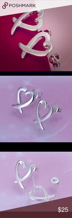 Silver 925 Stamped Heart Earrings Brand new! 925 stamped, silver earrings, heart shaped! Jewelry Earrings