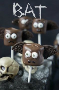 Chocolate covered marshmallow with half an Oreo <bat>