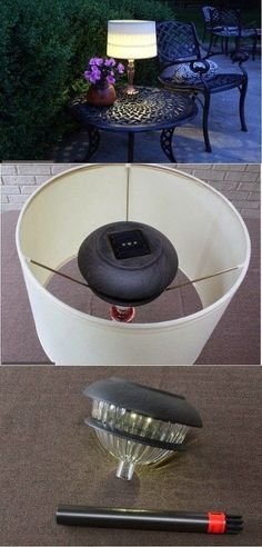 Recycled Indoor Lamp for the Outdoors - We love this idea of pulling the plug on this traditional lamp, inserting in a solar light and giving it a new purpose i…