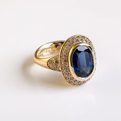 Sapphire with Diamonds 18 karat gold | blue sapphire | champagne diamonds Code: R-538 Berman Jewlery - ברמן תכשיטים