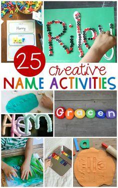 Name Writing Activities, Name Activities Preschool, Kindergarten Names, Pre K Activities, Alphabet Activities, Creative Activities, All About Me Activities For Preschoolers, Fall Preschool, Preschool Curriculum
