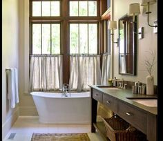 Great windows - perfect for guest bath. Counter, sinks and shelving perfect.  We need tub/shower combo in guest room.