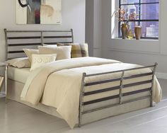 Bedroom: Exclusive Iron Bed Frame With Cream Stripes Blanket On The White Floor Paired With Art Painting On The  Beige Wall: Iron Bed Frames That Elegant For Our Sweet Bedroom