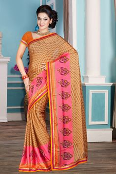 Chikoo Pink Chiffon Saree with Art Silk Blouse Price:-£29.00 New arrival Chikoo Pink Chiffon Saree with Art Silk Blouse and Printed Pallu, U Neck Blouse, Short Sleeve. This is prefect for party wear, wedding, festival, casual, ceremonial. These designs are presented by Andaaz Fashion http://www.andaazfashion.co.uk/chikoo-pink-chiffon-saree-with-art-silk-blouse-dmv7844.html