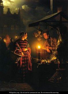 Petrus van Schendel, Market Place by Candlelight on ArtStack #petrus-van-schendel #art