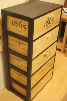 See related links to what you are looking for. Wooden Crates Desk, Crate Desk, Wooden Wine Boxes, Crate Shelves, Crate Furniture, Furniture Makeover, Home Wine Cellars, Wine Safari, Wine Craft