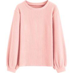 Lantern Sleeve Ribbed Sweatshirt (55 BRL) ❤ liked on Polyvore featuring tops, hoodies, sweatshirts, pink sweatshirts, pink ribbed top, rib top, pink top and ribbed top