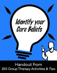 Worksheet on identifying core beliefs. Mental health resource for clinicians and their clients, and anyone interested in self-help!