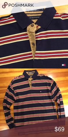 Tommy Hilfiger L/S Striped Polo This men's medium Tommy Hilfiger L/S Striped Polo is in mint condition. One of the most stylish color ways done by Tommy Hilfiger imho! Tommy Hilfiger Shirts Polos