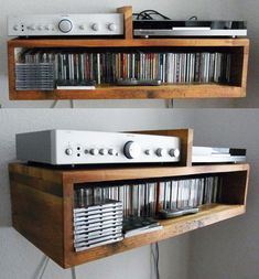 Hi fi shelf and CD storage from recycled floorboards. Made in Berlin by Michael at Not A Wooden Spoon.