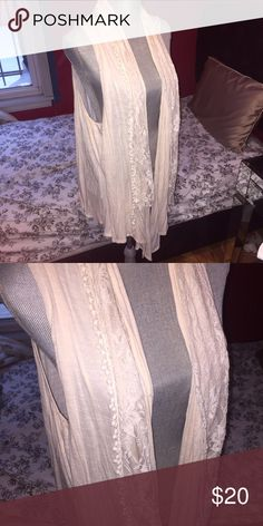 Torrid Ivory Sweater Lace Vest Lace Shawl This goes perfect to layer any outfit had a lovely Lace detail torrid Sweaters Cardigans