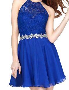 LovingDress Women's Homecoming Dress Chiffon&Lace Halter Short Cocktail Dress: Amazon Fashion