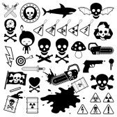 Cartoon_pirate : Set of silhouette and outlined vector icons depicting danger from weapons, toxins, poison, shark, fungi, skull and crossbones and electricity