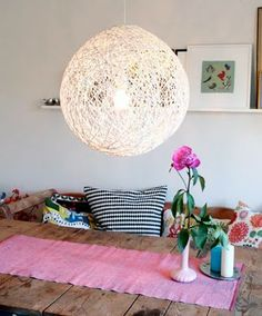 DIY String lampshade- check to see if i will be able to install the one I already have to the ugly dining room light!