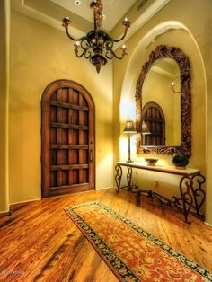 Welcoming Mexican entry hall. Love these floors! Spanish Home Decor, Mexican Home Decor, Spanish Style Homes, Spanish House, Spanish Colonial, Wrought Iron Console Table, Console Tables, Mexican Interior Design, Hacienda Style