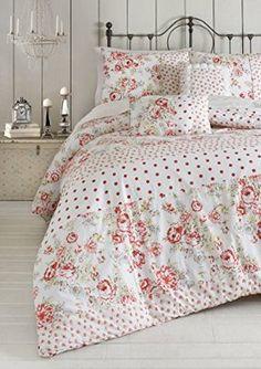 Jessica Simpson 3-Piece Marilyn Vintage Floral Comforter Set, Queen, Red/Green