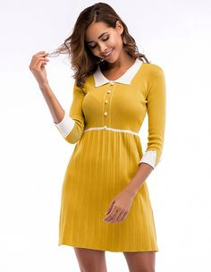 78198d655be Cute Peter Pan Collar Half Sleeves Button Front Knit Pleated Dress –  FADCOVER Half Sleeve Dresses