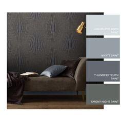 Hourglass Night Wallpaper - GrahamBrownUK Grey Lounge, Graham Brown, New Living Room, Hourglass, Color Combinations, Dark Grey, Interior Design, Night, Wallpaper